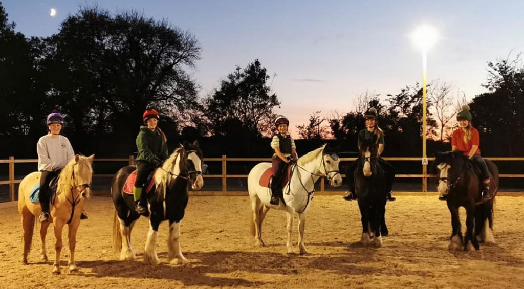 Picture of evening riding lesson